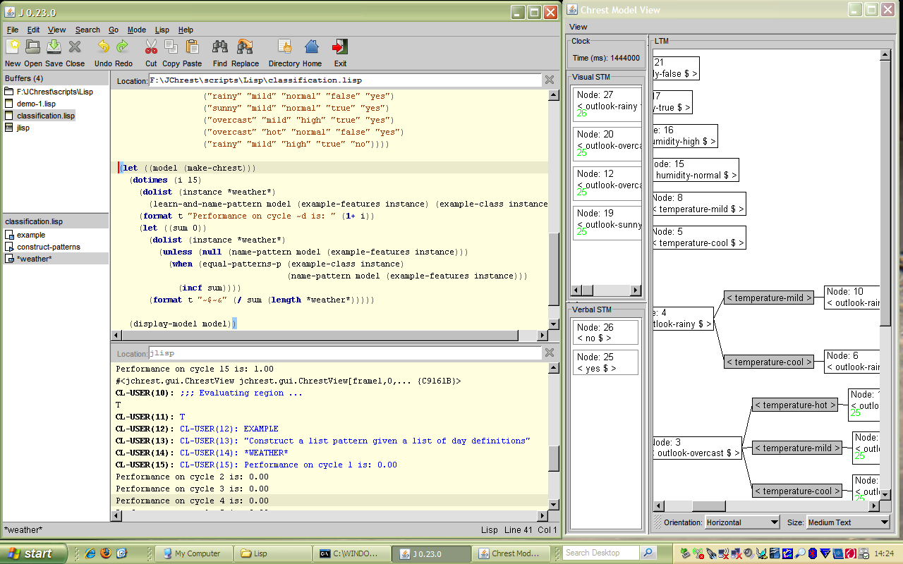 Image of Chrest model developed within J's lisp environment.